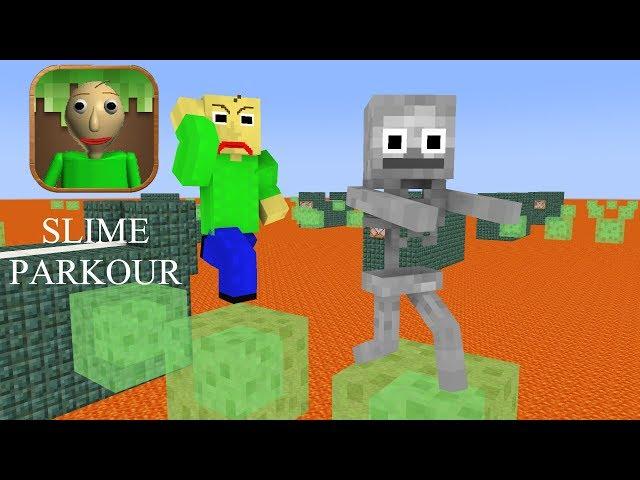 Monster School : Baldis Slime Block Parkour Challenge - Minecraft Animation