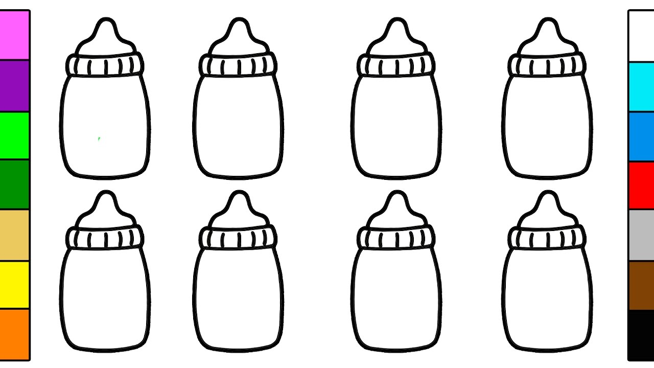 Baby Bottle Coloring Pages for Kids YouTube