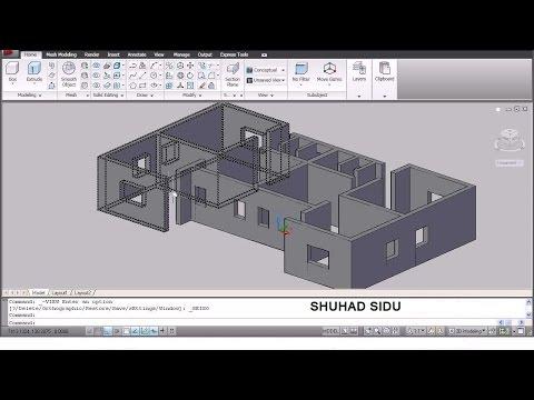 AutoCAD 3D House Modeling Tutorial - 1   3D Home Design   3D Building   3D Floor Plan   3D Room
