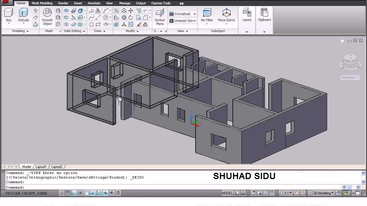 AutoCAD 3D House Modeling Tutorial - 1   3D Home Design ...