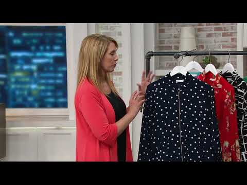 Susan Graver Printed Peachskin Zip Front Bomber Jacket on QVC