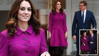 Kate Middleton looks very glamorous as she recycles purple suit for a visit to the Royal Opera House