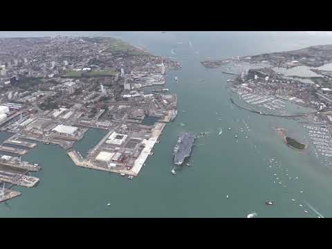HMS Queen Elizabeth first entry into Portsmouth (Video 2)