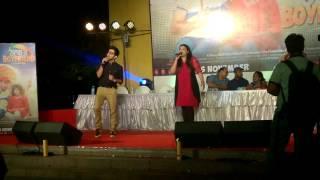 "Ujjayini & Kinjal singing in the premier of ""Thammar Boyfriend"" movie."