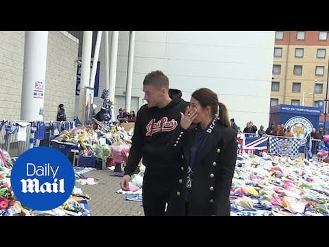 Rebekah and Jamie Vardy weep as they visit Leicester City memorial thumbnail