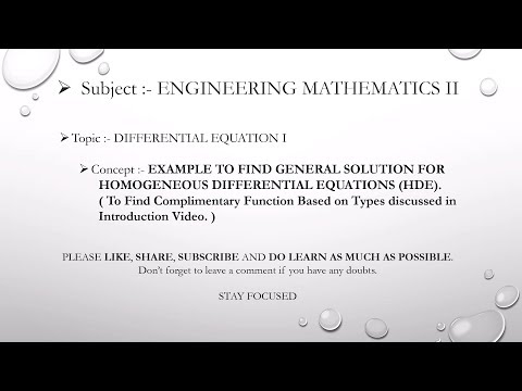 Example on COMPLIMENTARY FUNCTIONS - Differential Equation 1 - Engineering Mathematics 2