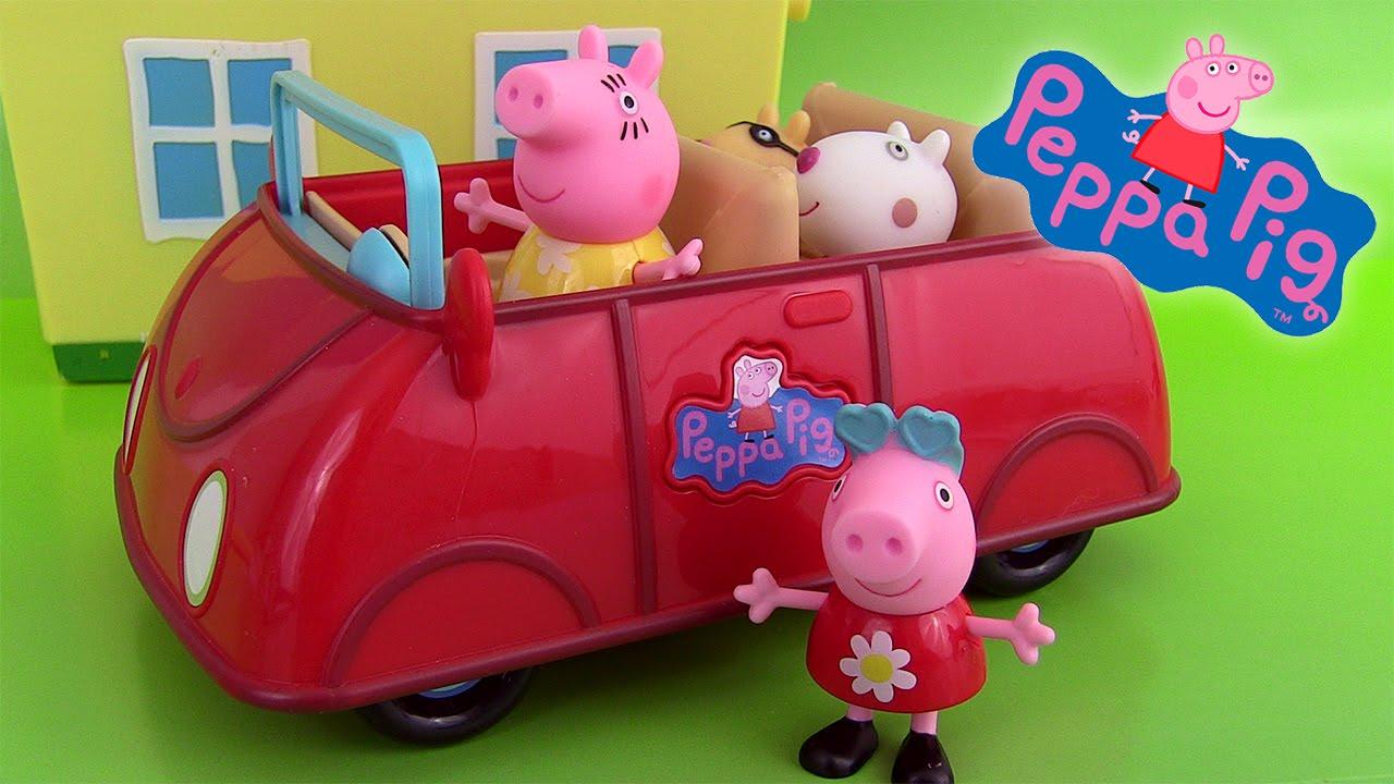 peppa pig 39 s red car la voiture de peppa parlante maman pig. Black Bedroom Furniture Sets. Home Design Ideas