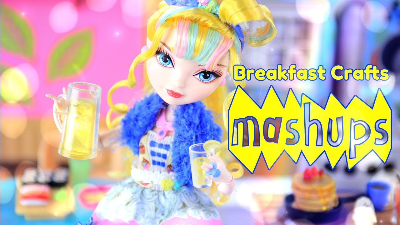 Mash Ups: Doll Breakfast Crafts - Doll Waffles | Eggs & Sausage | Cinnamon Roll & more