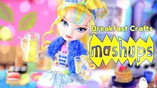 Mash Ups: Doll Breakfast Crafts - Doll Waffles | Eggs & Sausage | Cinnamon Roll & more