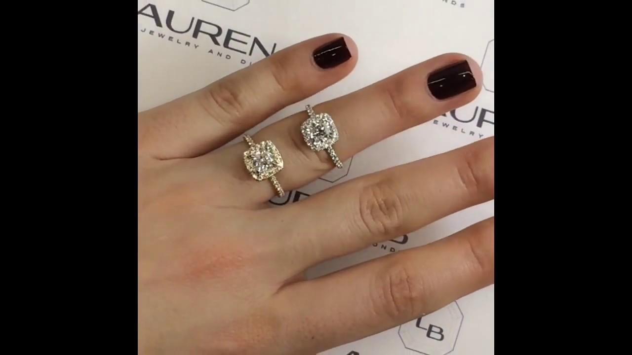 Cushion Cut Diamond Halo Engagement Rings: White Vs Yellow Gold
