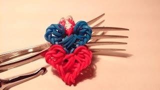 Браслет Переплетение сердец из резинок Rainbow Loom/ на вилках/ Радужки Rainbow World
