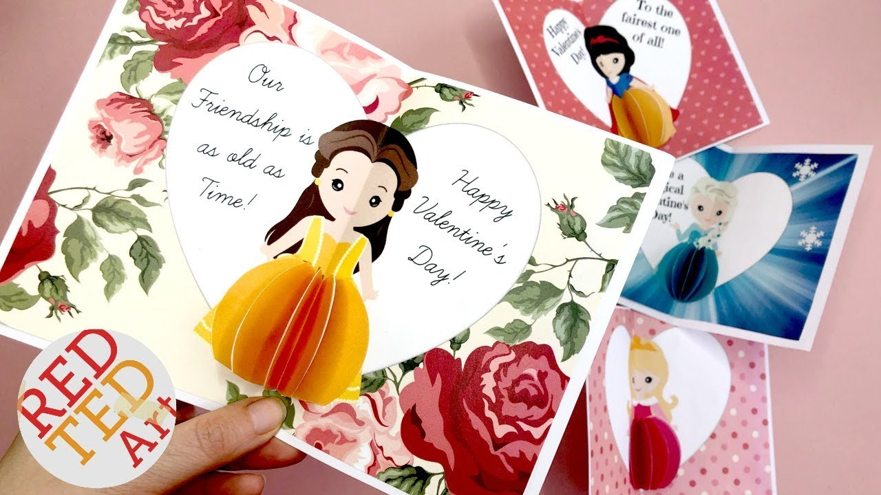 3d Princess Pop Up Card Printable For Valentines Birthdays