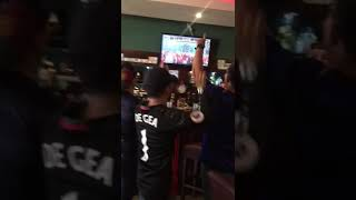 Group of friends celebrating Manchester United's victory. Manchester United Guatemala Fans.