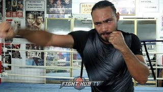 KEITH THURMAN SHOWING QUICK HANDS SHADOW BOXING FOR PACQUIAO AFTER SIX ROUNDS OF SPARRING