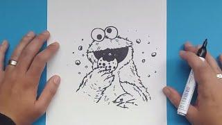 Como dibujar al Monstruo de las galletas paso a paso 2 - Barrios Sesamo | How to draw the Cookie Mon
