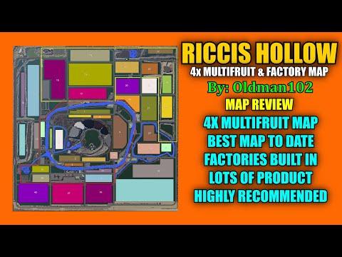 "Riccis Hollow 4x Multifruit & Factory Map ""Map Review"" Farming Simulator 19"