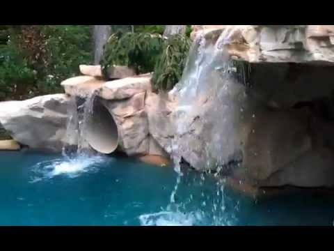 Charlotte Swimming Pool Grotto Water Slide On Lake Norman Youtube