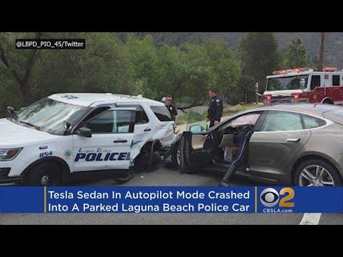 Tesla Sedan In Autopilot Mode Hits Police SUV