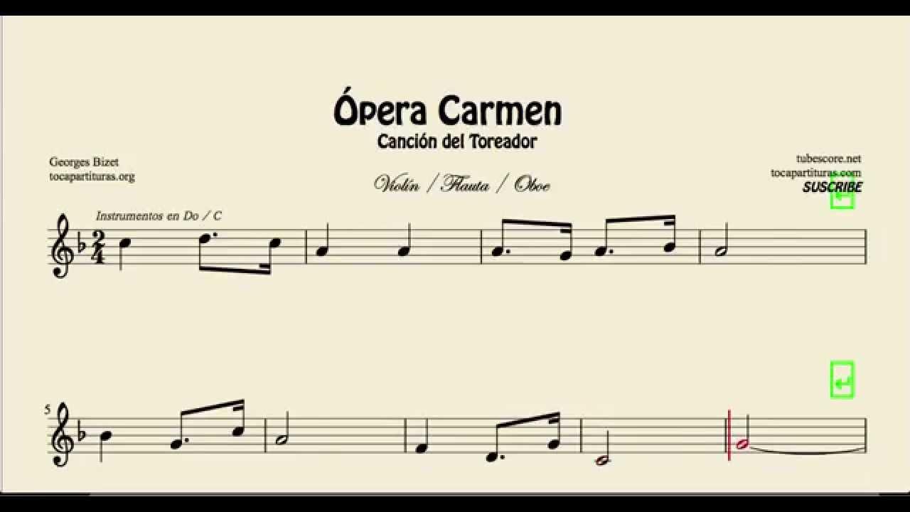 Opera Carmen Easy Sheet Music For Violin Flute And Oboe