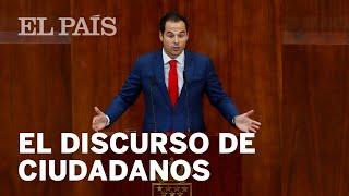El discurso de CIUDADANOS en el PLENO DE INVESTIDURA de Isabel Díaz Ayuso
