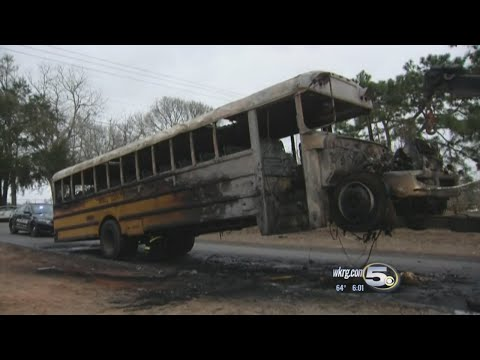 Mobile County school bus on fire in Grand Bay