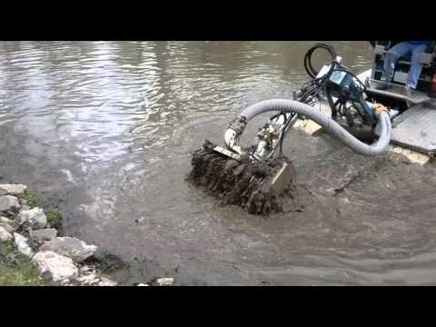 Pond dredging/sediment removal - YouTube