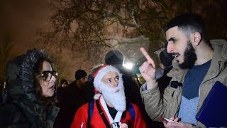 FATHER XMAS & MUSLIM TALK ON BANNING CHRISTMAS -SPEAKERS CORNER