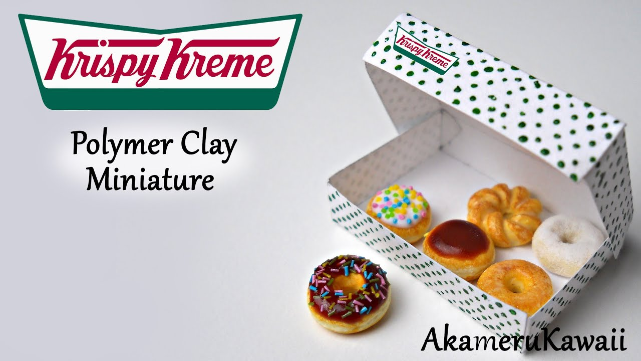 Krispy Kreme Donuts inspired miniature - Polymer Clay Tutorial - YouTube