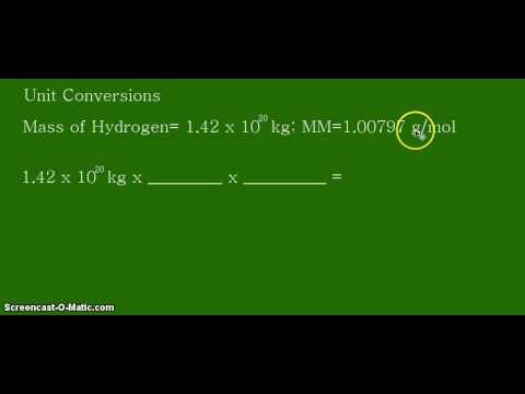 Unit Conversion: Kilograms (kg) to moles (mol) of Hydrogen in the world