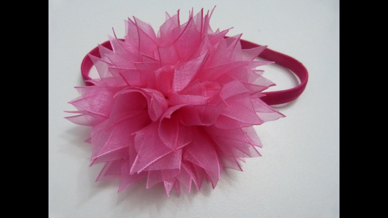 D.I.Y. Organza Pom,Poms tutorial para el cabello. Moños flores paso a paso , YouTube