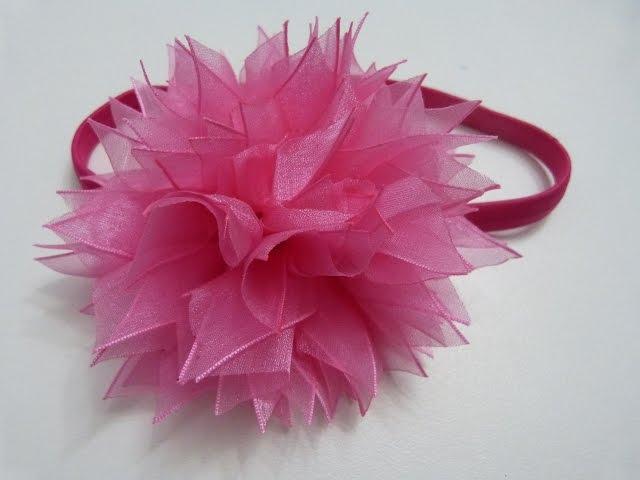 D.I.Y. Organza Pom-Poms tutorial para el cabello, Moños flores paso a paso