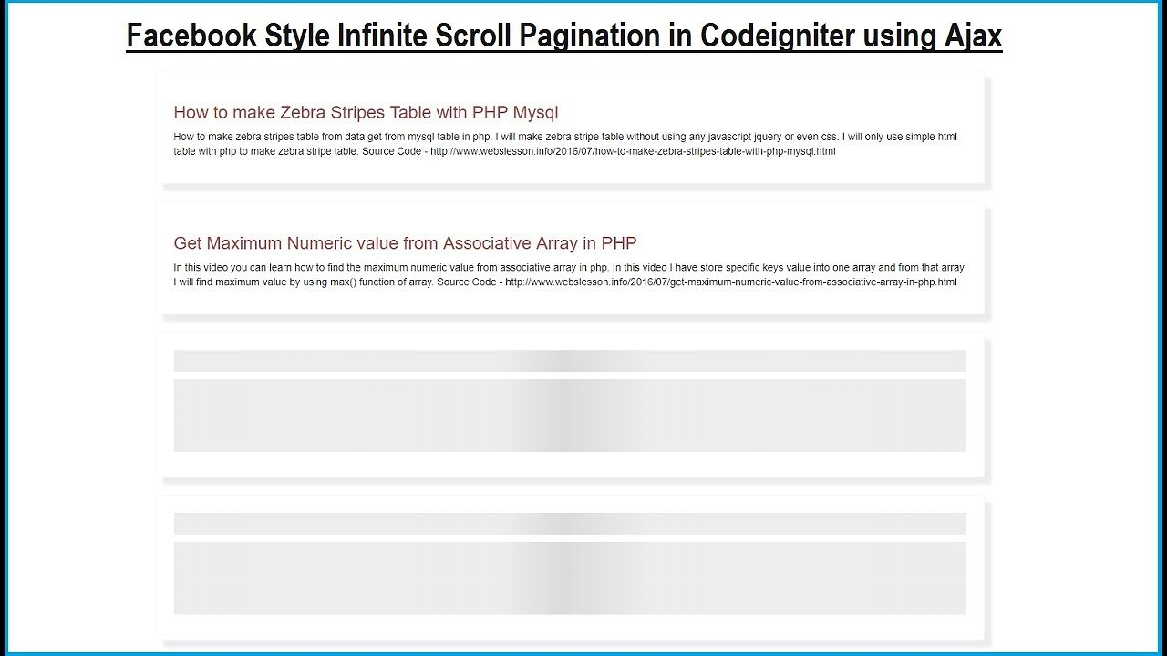 Codeigniter - Load More Data on page scroll using Ajax
