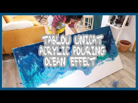 Tablou canvas - acrylic pouring ocean effect