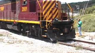Derailed locomotive being re-railed on the SWP, 7/11/2001...