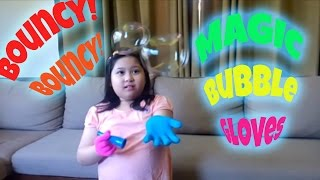 Magic bubble gloves that make bubbles bounce off your hands