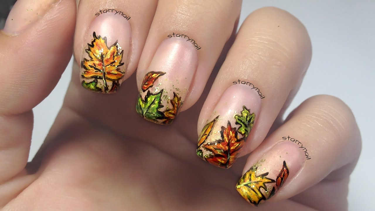 fall nail art autumn leaves freehand nail 31167