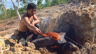 ปลาแซลมอนใหญ่ ย่างบนแผ่นหิน (พริกหม่าล่า)