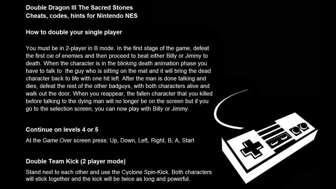 Double Dragon III: The Sacred Stones <b>cheats</b>, <b>codes</b>, hints for ...