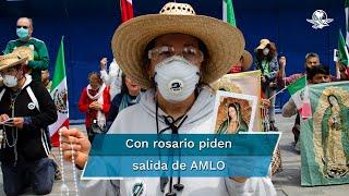 Una persona, aparentemente en condición de indigencia, empezó a aventar las tiendas de campaña de los integrantes de Frente Nacional Anti-AMLO que mantienen un plantón sobre Avenida Juárez