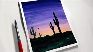 Easy Watercolor Sunset Painting For Beginners Sunset Watercolor Painting Ideas Youtube