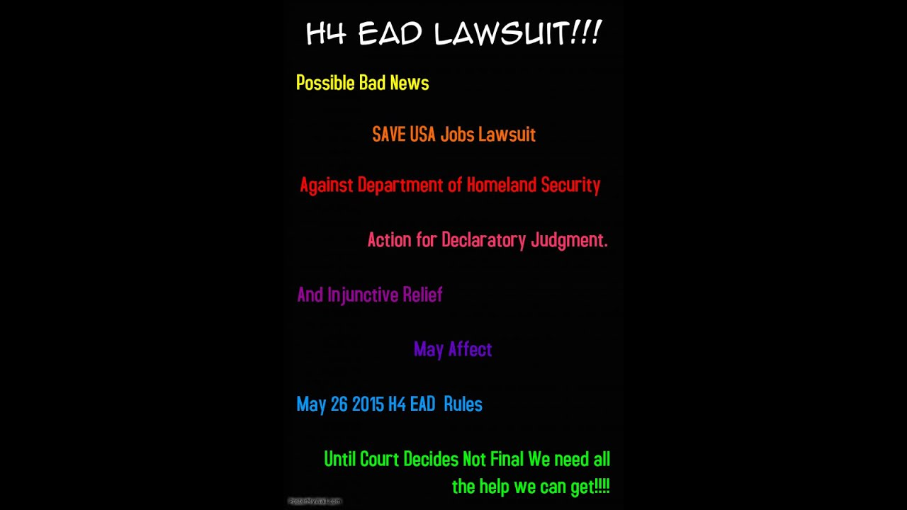 SAVE JOBS USA filed a lawsuit against DHS H4 EAD rules