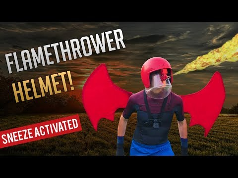 FLAMETHROWER HELMET (World's First Sneeze-Activated Flamethrower) | Kids Invent Stuff
