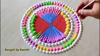 Multicolour Happy new year rangoli design 2020 l sankranthi muggulu l pongal kolam l rangoli designs