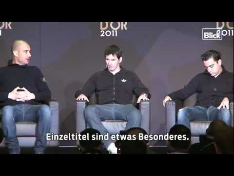 Interview with Lionel Messi and Xavi FIFA Ballon d'or 2011