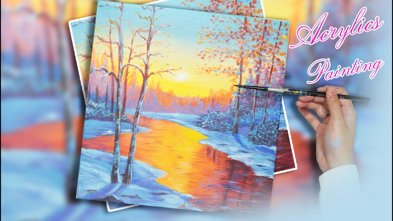 Acrylic Painting #158 How to Draw Winter Landscape tutorial
