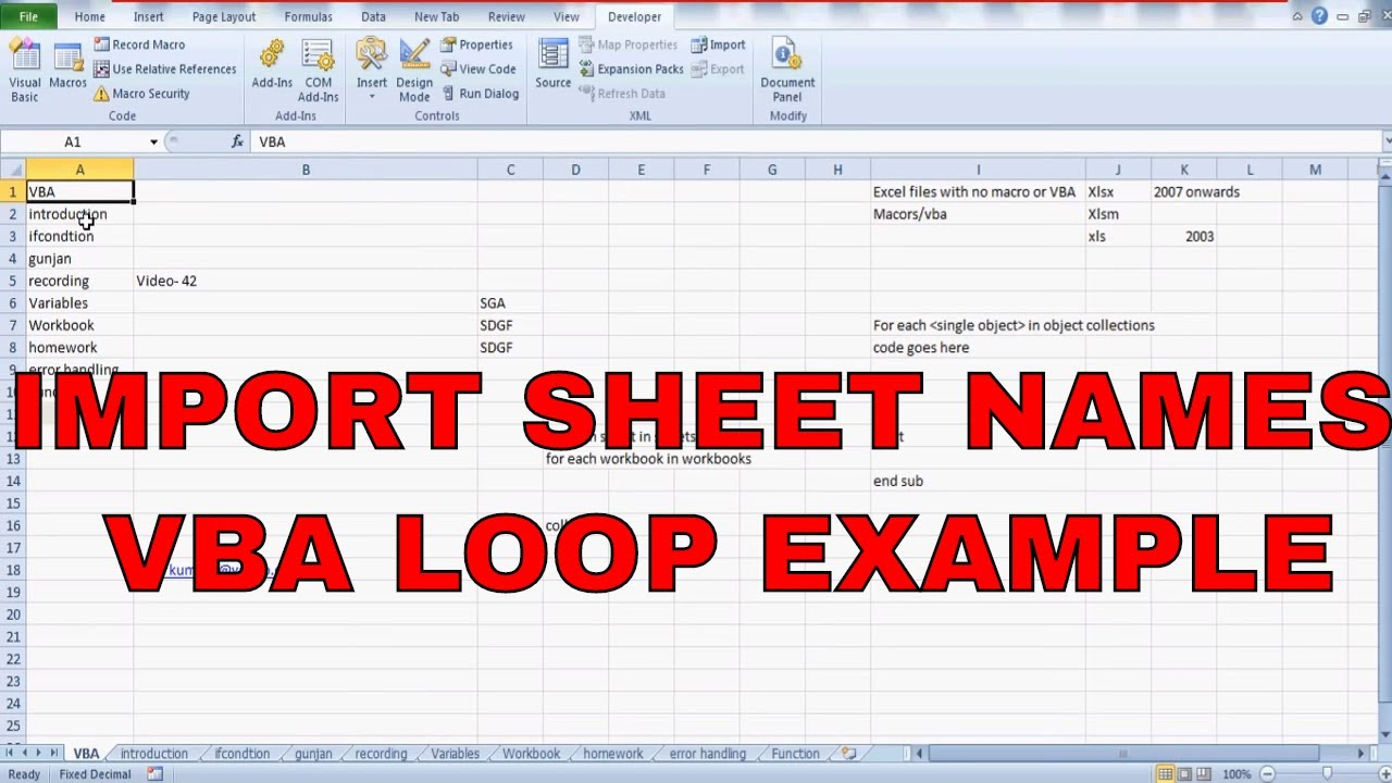 Learn Excel -Video 43- VBA- How to write sheets name in your ...