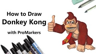How to Draw and Color Donkey Kong with ProMarkers [Speed Drawing]