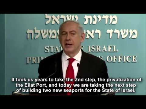 Israel PM Netanyahu Announces Opening of 2 New Ports