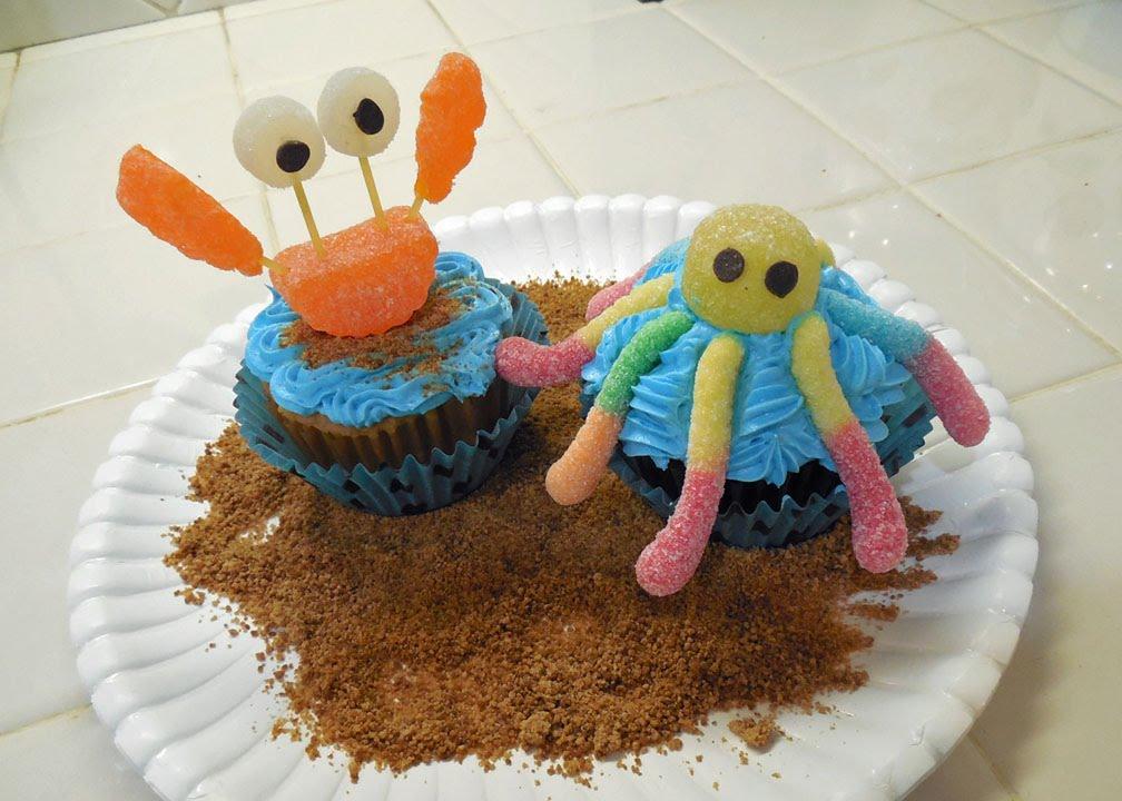 Simple Sea Animals Beach Party Cupcakes - YouTube