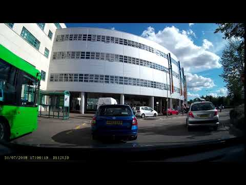 Car Drives Through A Bus Gate At The Great Western Hospital In Swindon, Wiltshire